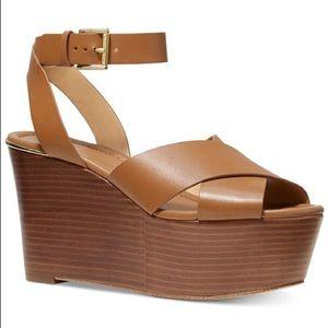 NWOT Michael Kors Abbott Leather Wedge shoes
